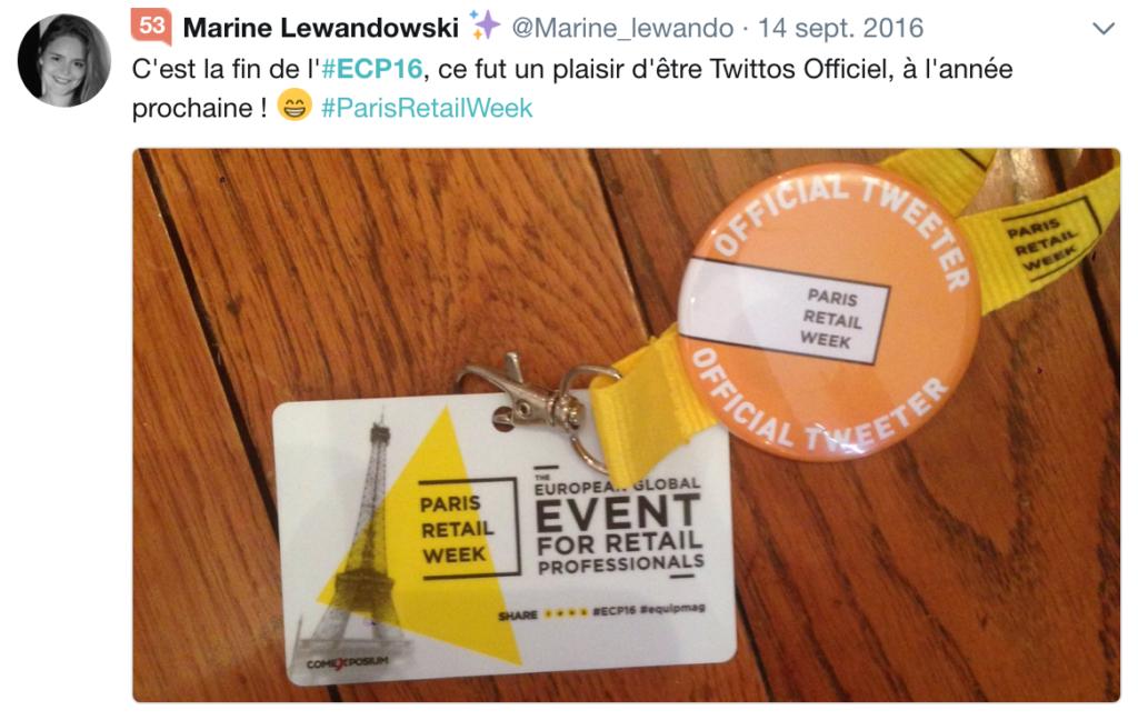 Exemple de tweet évènement